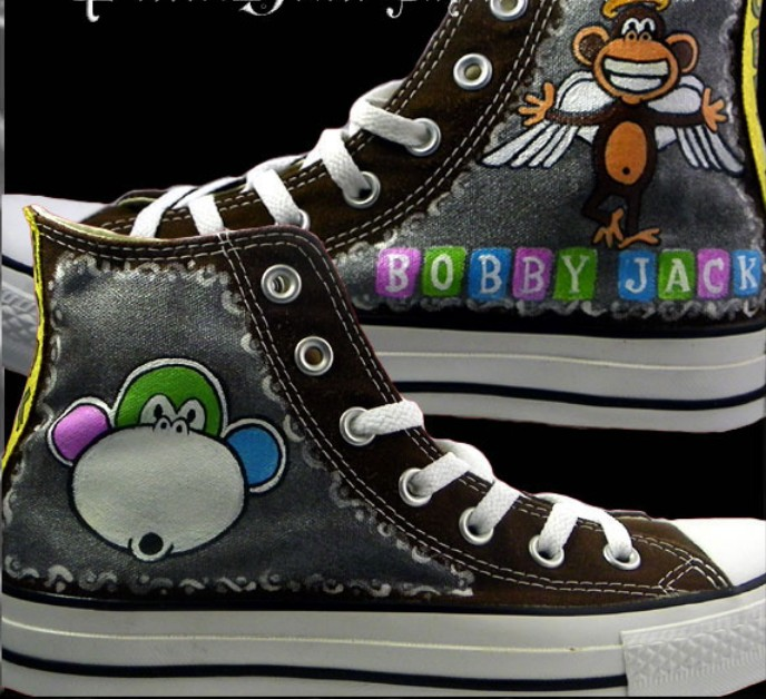 Bobby Jack Custom Sneakers High-top Painted Canvas Shoes-1