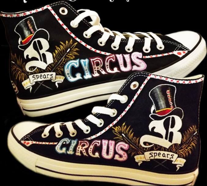Custom Sneakers Britney Spears High-top Painted Canvas Shoes-1