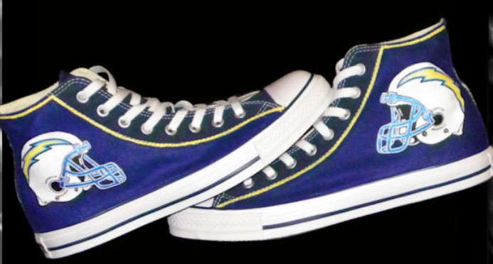 Custom Sneakers San Diego Chargers High-top Painted Canvas Shoes-1