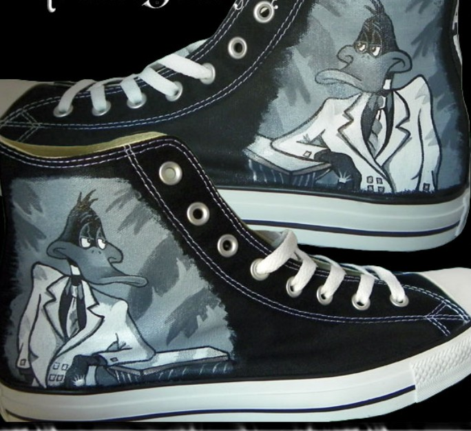 Painted Canvas Shoes Daffy Duck Custom Sneakers-1