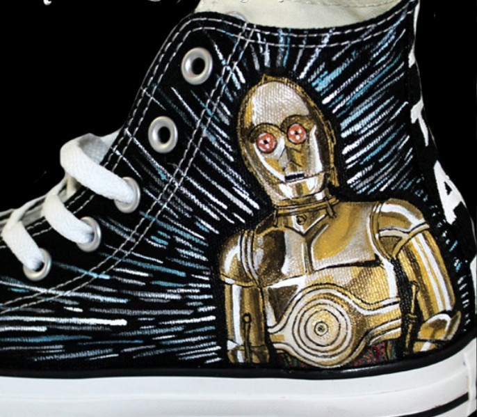 Star Wars Custom Sneakers Custom High-top Painted Canvas Shoes-2