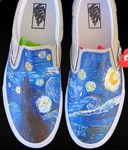 Vincent Van Gogh Custom Painted Slip-on Painted Canvas Shoes-1