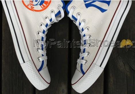 New York Yankees Shoes Custom High-top Painted Canvas Shoes-1