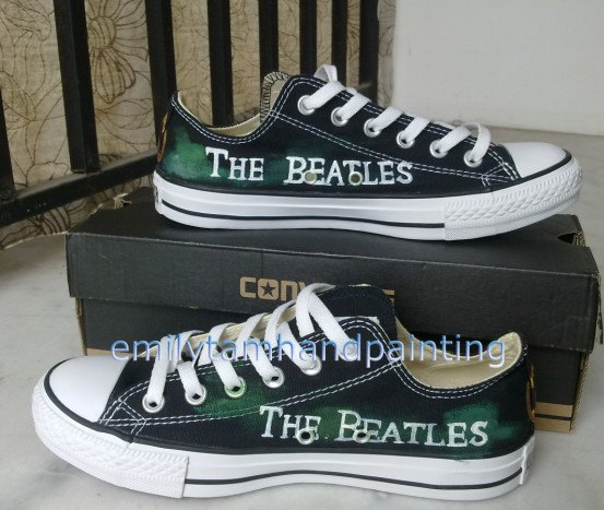 The Beatles Sneakers Low Top Sneaker Custom Beatles Inspired Pai-1