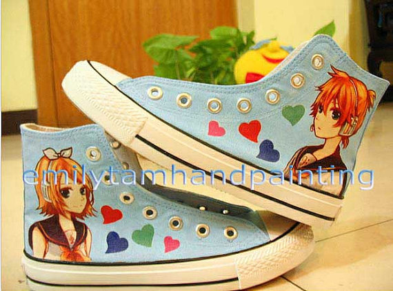 Vocaloid Shoes Kagamine Rin and Len Custom Hand Painted Shoes-1