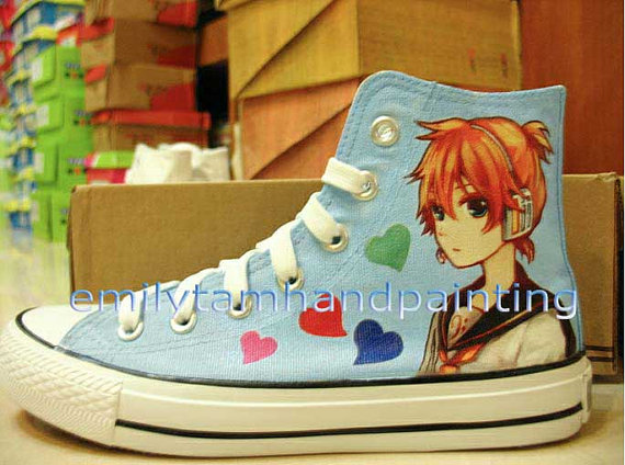 Vocaloid Shoes Kagamine Rin and Len Custom Hand Painted Shoes-2