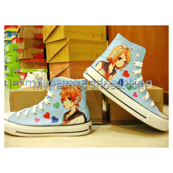 Vocaloid Shoes Kagamine Rin and Len Custom Hand Painted Shoes