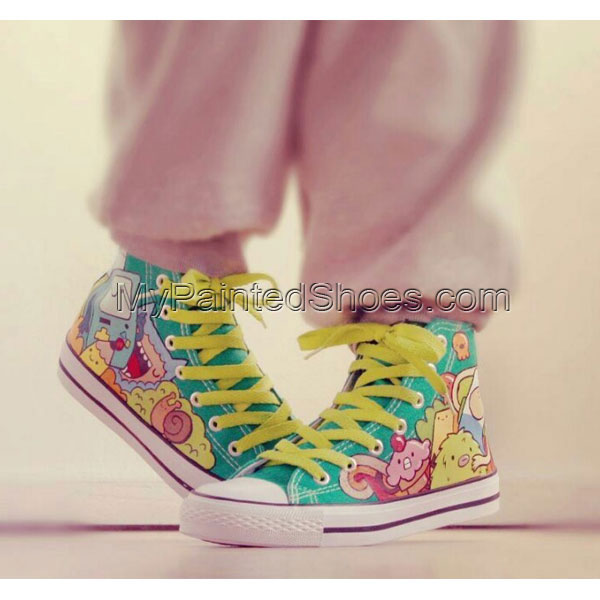 Custom adventure time hitops Painted Canvas Shoes