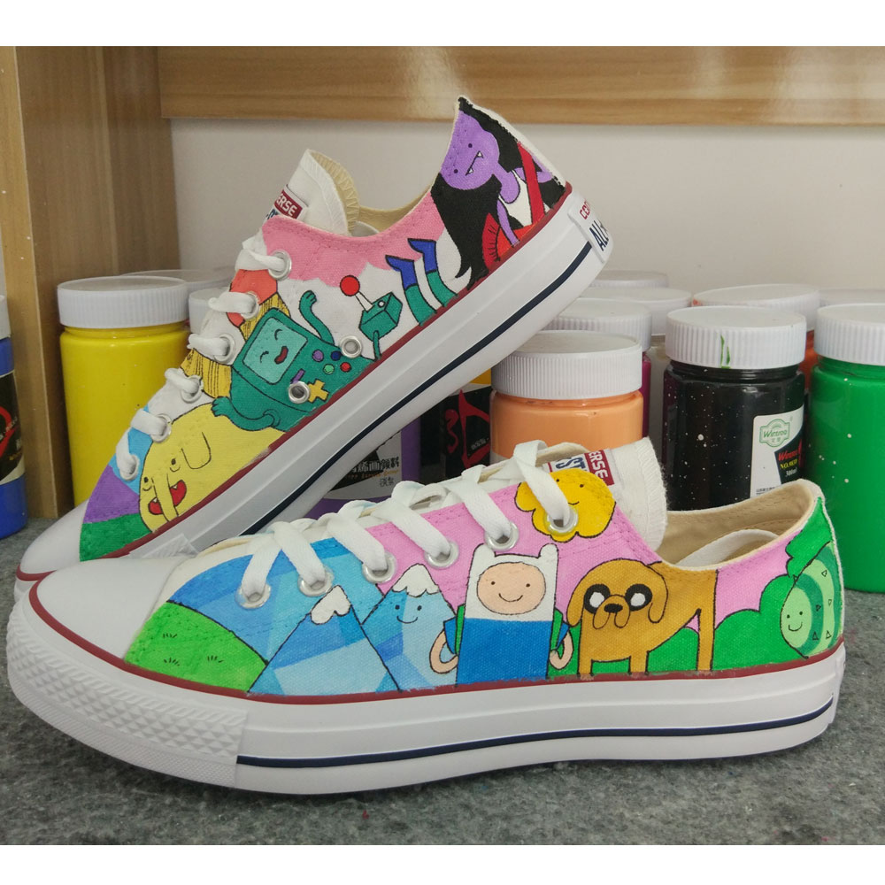 hand painted canvas shoes adventure time anime shoes-1