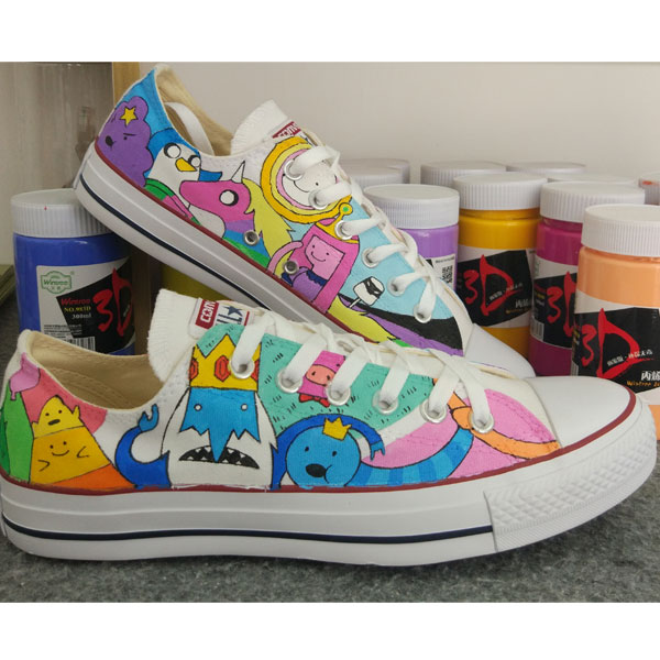 hand painted canvas shoes adventure time anime shoes