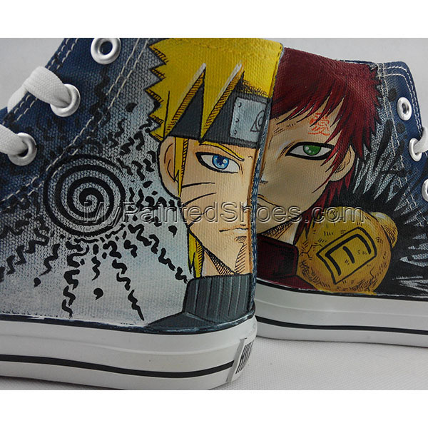 Naruto Anime Converse All Star Gaara Uzumaki Painted Canvas Shoe