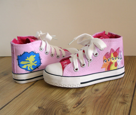 Hand painted My Little Pony shoes, cutie mark crusaders-1