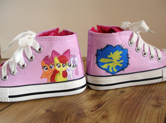 Hand painted My Little Pony shoes, cutie mark crusaders-2