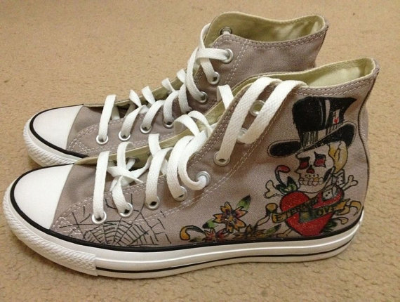 Hand Painted  All Star Shoes Skull PUNK Style-1