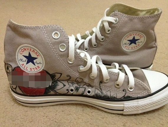 Hand Painted  All Star Shoes Skull PUNK Style-2