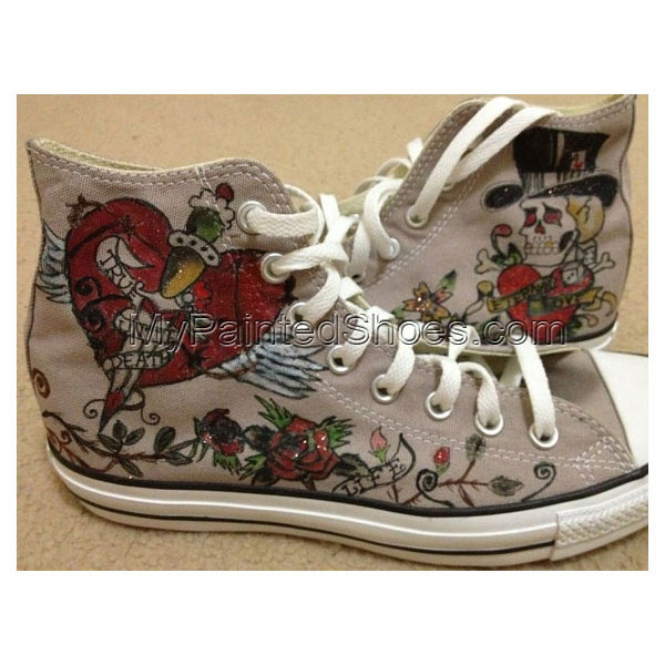 Hand Painted  All Star Shoes Skull PUNK Style