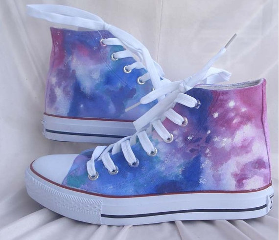 Galaxy Converse Sneakers Hand-Painted On  Shoes Christmas Gif-1