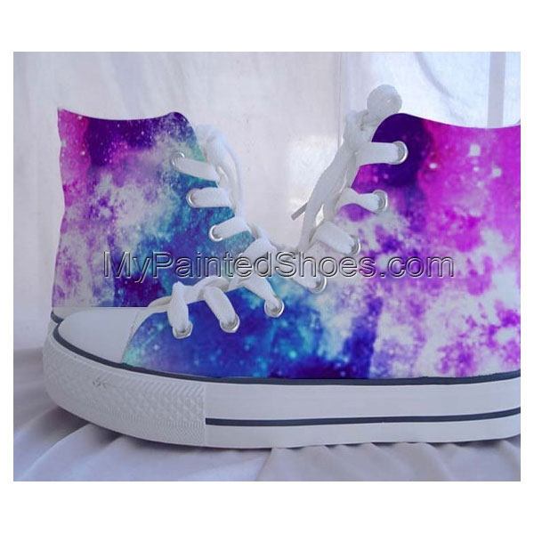 Galaxy Converse Sneakers Hand-Painted On  Shoes Christmas Gif