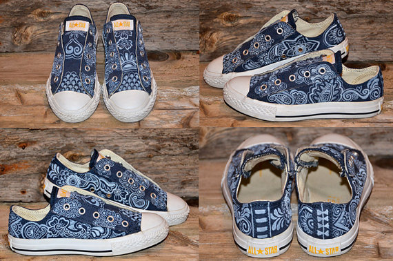 Paisley/Floral on Blue All Stars-4