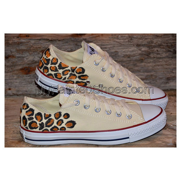 Leopard print on All Stars - Adult size