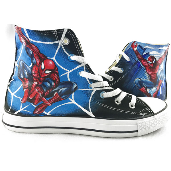 custom converse spiderman  handpainted shoes can do any theme yo-1