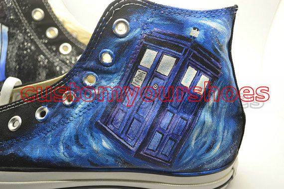 custom doctor who converse handpainted shoes-3