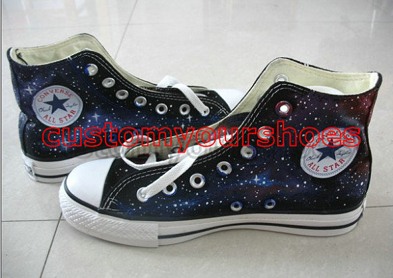 custom  galaxy converse handpainted shoes-2