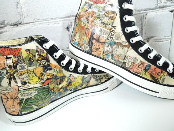Men's Comic Book Custom HIGH TOP Sneakers Avengers. XMen. Fantas-2