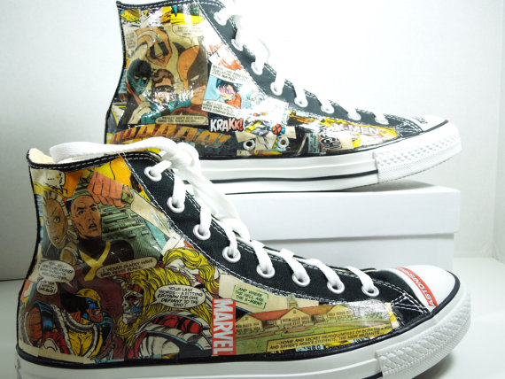 Men's Comic Book Custom HIGH TOP Sneakers Avengers. XMen. Fantas-3