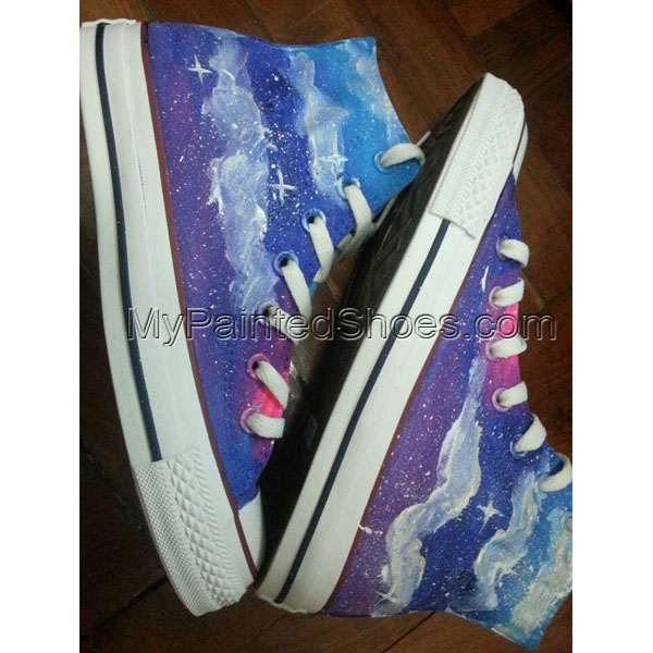 Dark Galaxy custom painted shoes High-top Painted Canvas Shoes