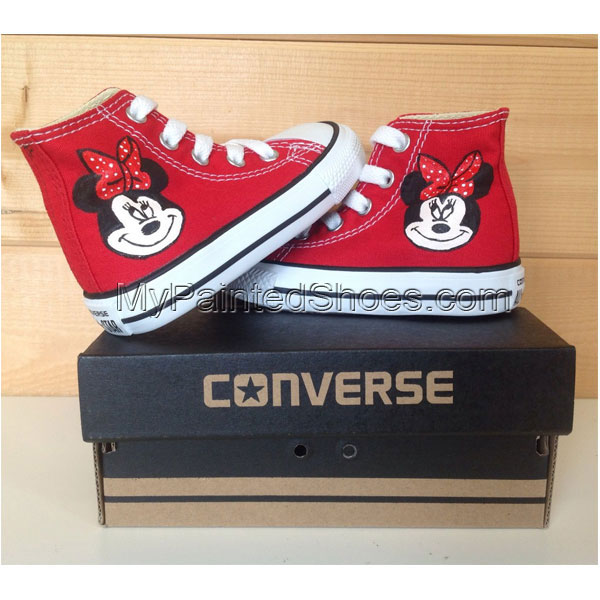 Toddler Minnie Mouse custom painted shoes