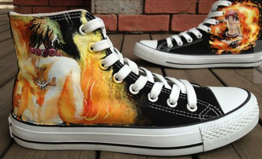 Anime Shoes One Piece Ace Shoes Hand Painted Shoes-1