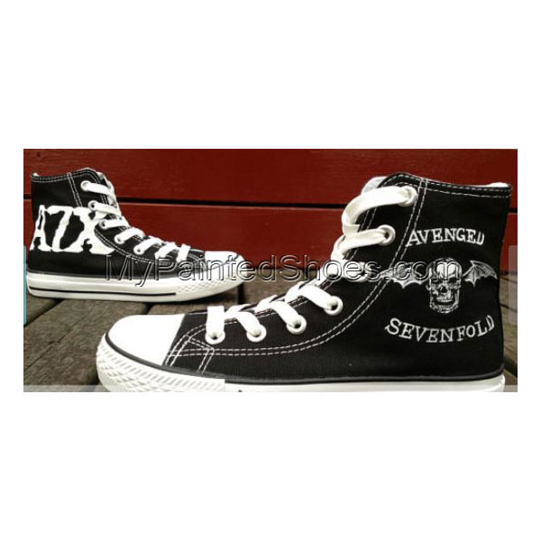 Avenged Sevenfold Custom Shoes Shaped Skull Bat Patch Custom Han