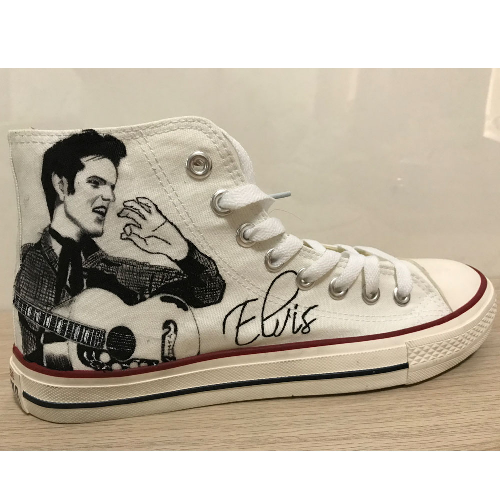Elvis Presley Hand Painted Shoes High Top White Canvas Sneaker C-3