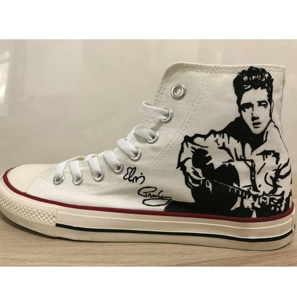 Elvis Presley Hand Painted Shoes High Top White Canvas Sneaker C-4