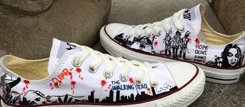 Painted Custom Zombie The Walking Dead Shoes Custom Shoes Hand P-3