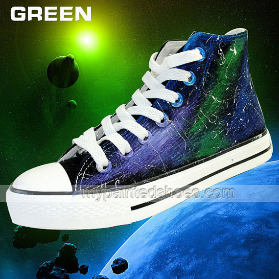 Galaxy Shoes Custom Hand Painted High Top Shoes,Galaxy hand pain-1