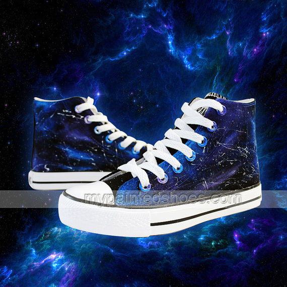 Galaxy Shoes Custom Hand Painted High Top Shoes,Galaxy hand pain-3