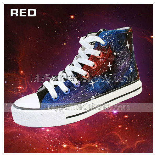 Galaxy Shoes Custom Hand Painted High Top Shoes,Galaxy hand pain