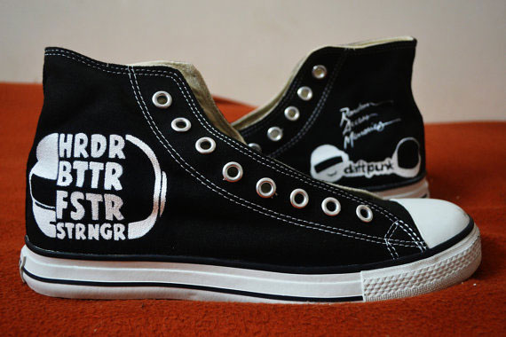 Daft Punk Handpainted Shoes High-top Painted Canvas Shoes-1