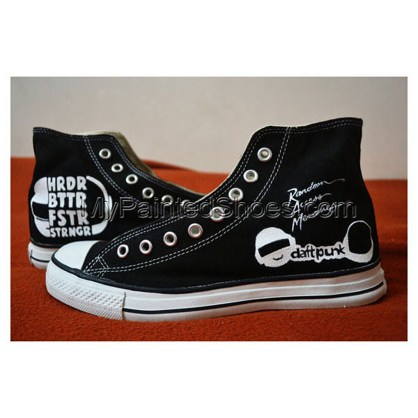Daft Punk Handpainted Shoes High-top Painted Canvas Shoes