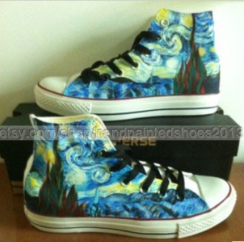 Van Gogh Shoes Van Gogh Sneakers custom Van Gogh Hand Painted Sh-1