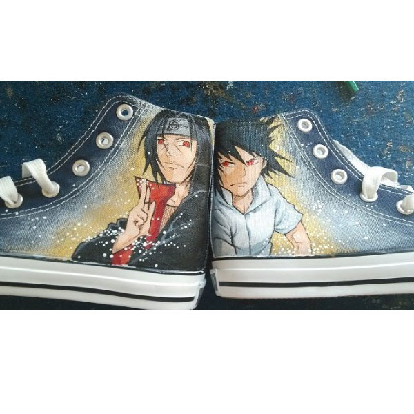 Naruto Uchiha Sasuke Shoes Anime Shoes Naruto Hand Painted Narut