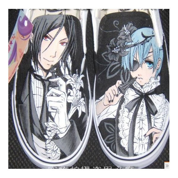 Black Butler hand painted shoes Anime Shoes hand painted Black B