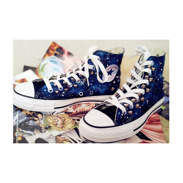 galaxy painted canvas shoes galaxy chucks-2