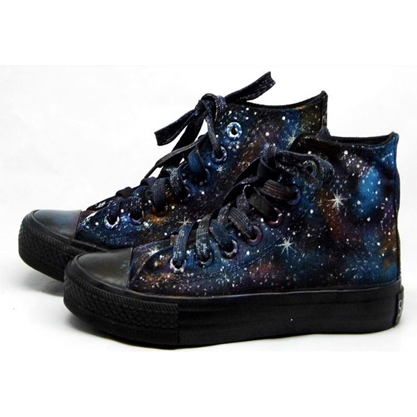 galaxy high tops galaxy chucks galaxy Painted Canvas Shoes