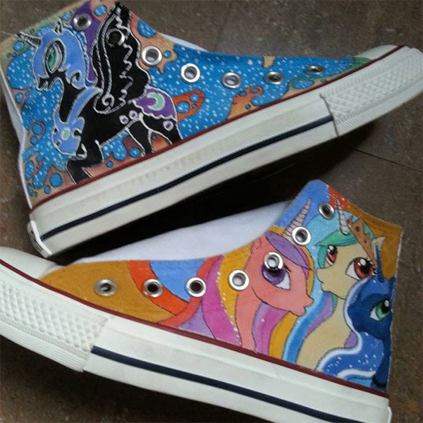 my little pony hand painted shoes my little pony sneakers(4 Side