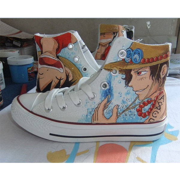 one piece anime shoes one piece custom anime painted shoes-1