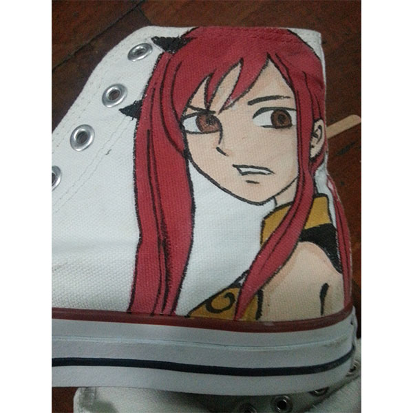 fairy tail anime shoes custom fairy tail Painted Canvas Shoes-3