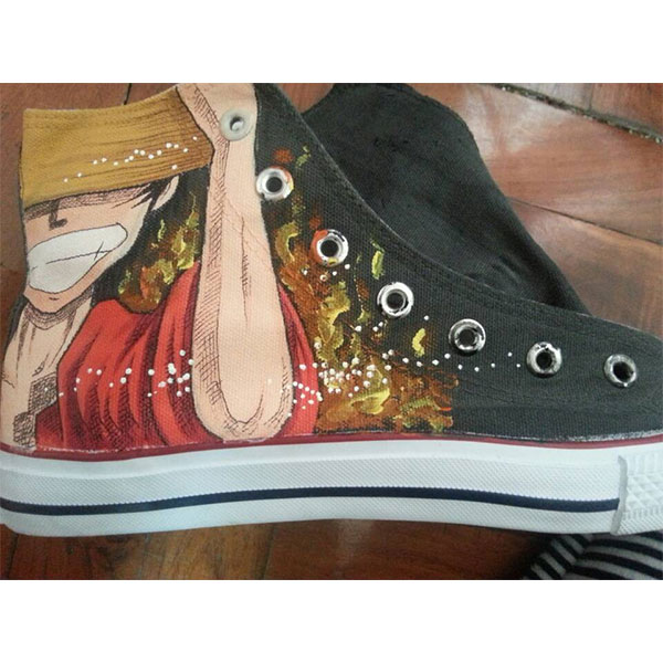 One Piece hand painted shoes Luffy and Zoro Anime Shoes for Men/-2